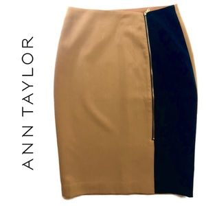 Ann Taylor Pencil Skirt: Black/Tan. Size: 2